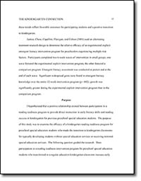 Research Study: The Kindergarten Connection by Felicia Robinson